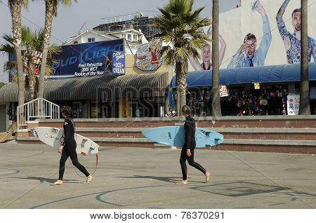 Surfers in Venice Beach, Los Angeles, California