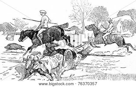 The Steeplechase, Vintage Engraving.