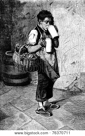 Munich Breweries. Funny Drinking Steins Leads To His Master, Vintage Engraving.