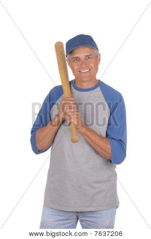 Middle Aged Man Ready To Play Baseball
