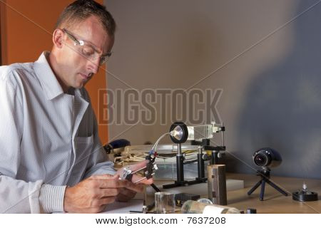 Male Researcher Wearing Safety Glasses