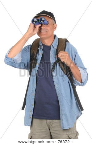 Middle Aged Man With Binoculars