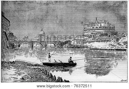 A Beautiful View Of The Ancient Adrian Mole, Today Known As St. Angel Castle In Rome Vintage Engravi