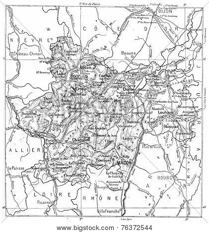 Map Of Department Of Haute-saone Vintage Engraving