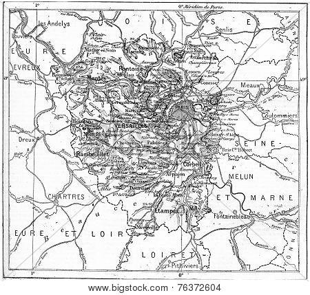 Map Of Department Of Seine-et-oise, France, Vintage Engraving.