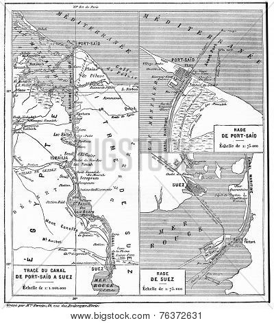 Map Of Suez Canal, Vintage Engraving.