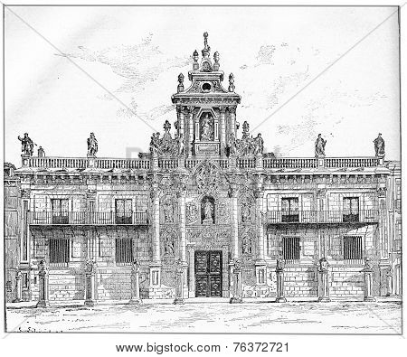 University Of Valladolid In Castile-leon In Spain, Vintage Engraving