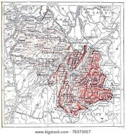 Map Of Department Of Isere, Vintage Engraving.
