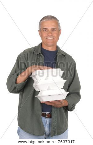 Man With Take Out Food Containers