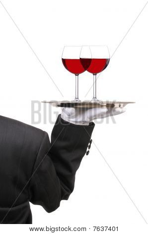 Butler With Wine Glasses On Tray