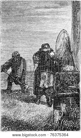 Scavengers In Riga, Vintage Engraving.