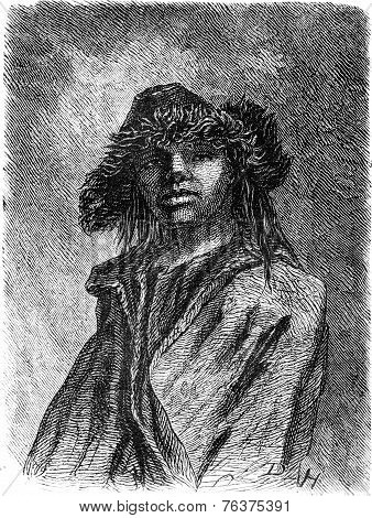 Young Lithuanian Peasant, Vintage Engraving.