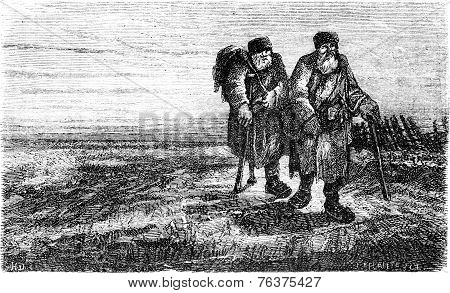 Two Peasants On The Road Near Tauroggen, Vintage Engraving.