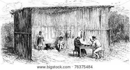 Kitchen And Dining Room Of The Mission Of Tierra Blanca, Vintage Engraving.