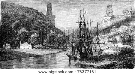 View Of The Avon, Bristol, Vintage Engraving.