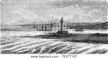 Mouth Of The Avon, Vintage Engraving.