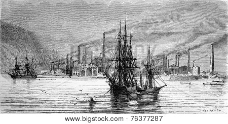 Swansea Factories And Docks, Vintage Engraving.
