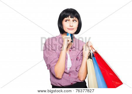 Young Beautiful Woman With Credit Card And Shopping Bags