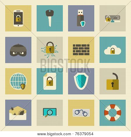 Cyber Defense Flat Icons Set
