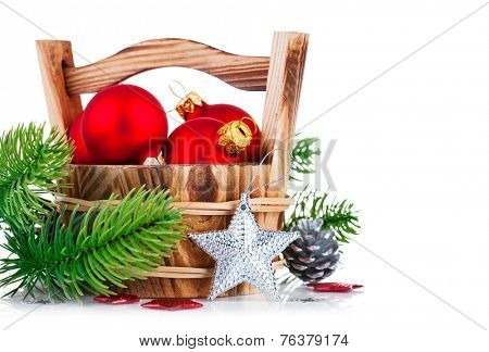 christmas balls with branch firtree and silvery star isolated on white background
