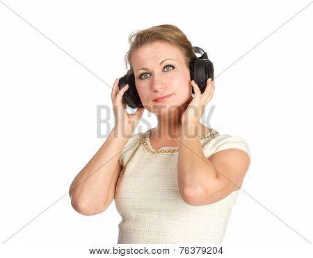 Woman with big black earphones
