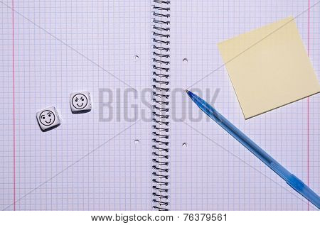 Open Exercise Book With Sticky Card, Pen And Mood Dices