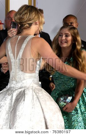 LOS ANGELES - NOV 17:  Jennifer Lawrence, Willow Shields at the The Hunger Games: Mockingjay Part 1 Premiere at the Nokia Theater on November 17, 2014 in Los Angeles, CA