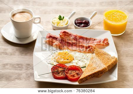 Continental Breakfast With Coffee And Orange Juice.