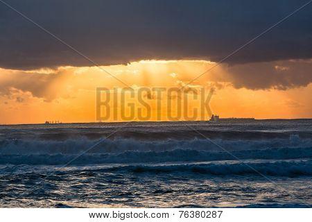Ocean Sunrise Ships