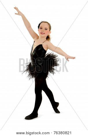 Lyrical Child Dancer In Black Recital Costume
