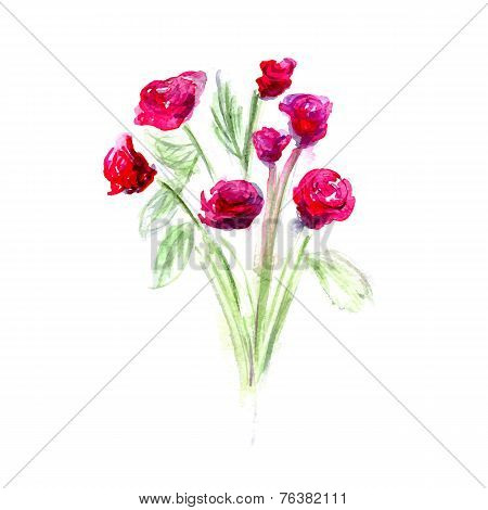 Flower watercolor vector