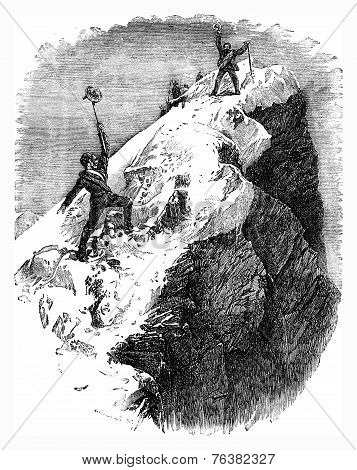 Arriving At The Summit Of The Matterhorn, Vintage Engraving.