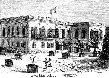Government House In Goree, Vintage Engraving.