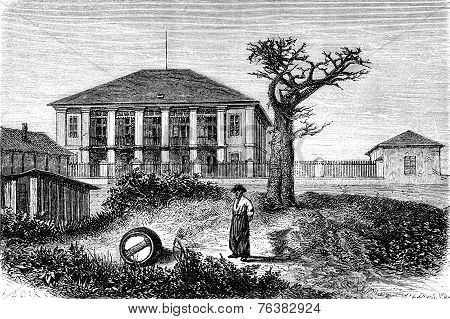 Hotel Of Couriers, Vintage Engraving.