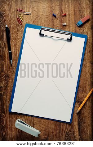 Blank White Standard A4 Sheet In A Clip Folder