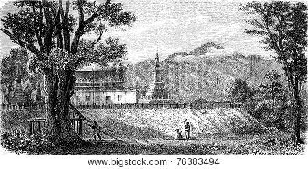 A Lao Pagoda (wat Luang Prabang Tomea Soc), Vintage Engraving.