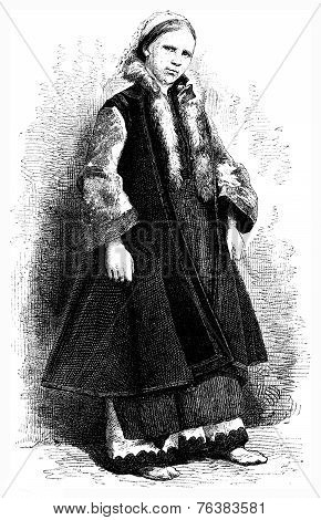 Russian Woman, Vintage Engraving.