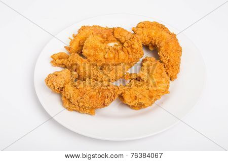 Fried Chicken Strips On White Plate And Background