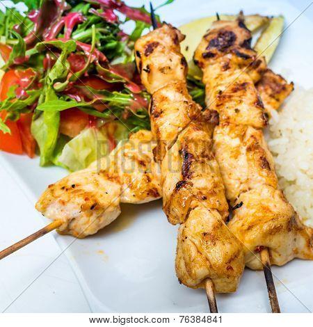 tasty Chicken steak kabobs with vegetables