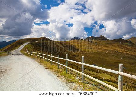 Empty Ski Slope In Tyrolean Alps In Autumn, Austria