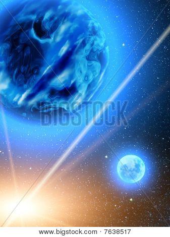 Sky  Stars  Planets  Earth  Meteor