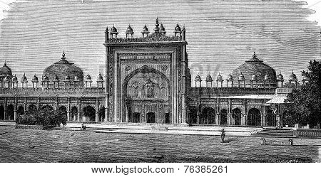 Mosque Of Dargah At Fatehpur Sikri, Vintage Engraving.