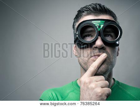 Pensive Superhero With Hand On Chin