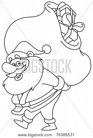 Outlined Santa Claus carrying a big gifts sack on his back. Vector illustration coloring page.