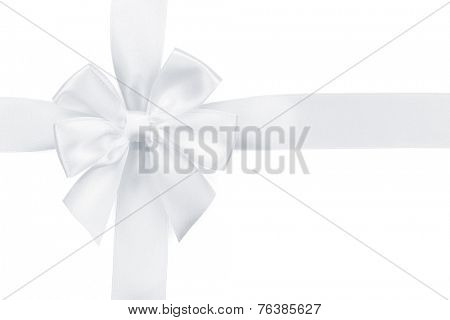 White ribbon with bow. Isolated on white background