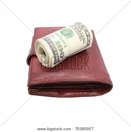 Roll Of Dollars On Old Leather Purse
