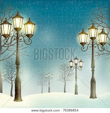 Christmas evening landscape with vintage lampposts.