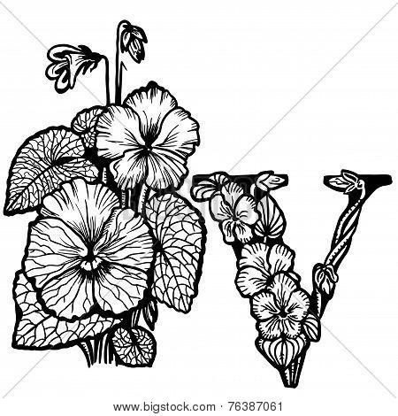 Violet bouquet litera V