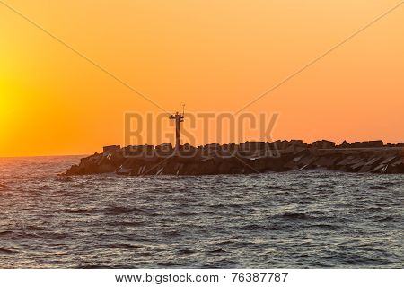 Dawn Colors Harbor Entrance Pier