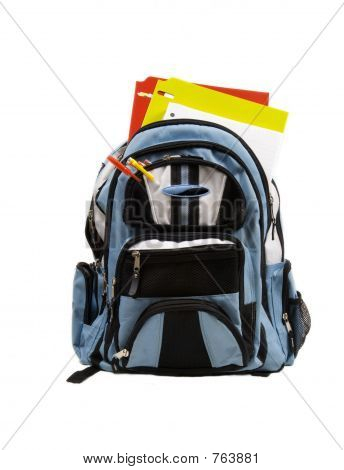 Blue School Back Pack full of school supplies